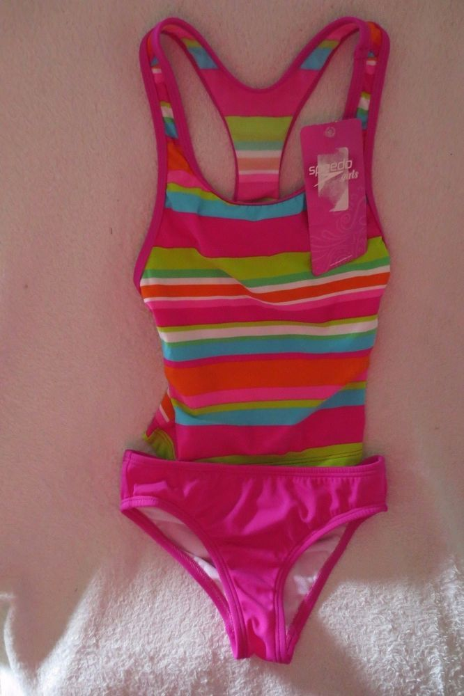 Speedo Girl Swimming Suit Two Piece Size 8 Multi Neon Striped Nwt