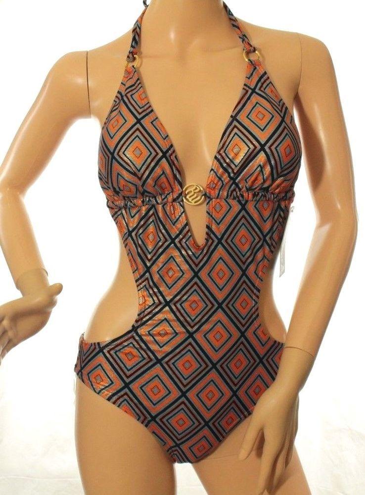 a164383092a03d Rocawear Womens Monokini One Piece Blue Orange Halter Swimsuit Size S   Rocawear  Monokini