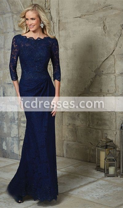 7d8ccdf63569 3/4 Sleeves Lace Dark Navy Blue Sheath Mother Of The Bride Dress 2016 Longo Elegant  Formal Party Evening Dress Custom-made