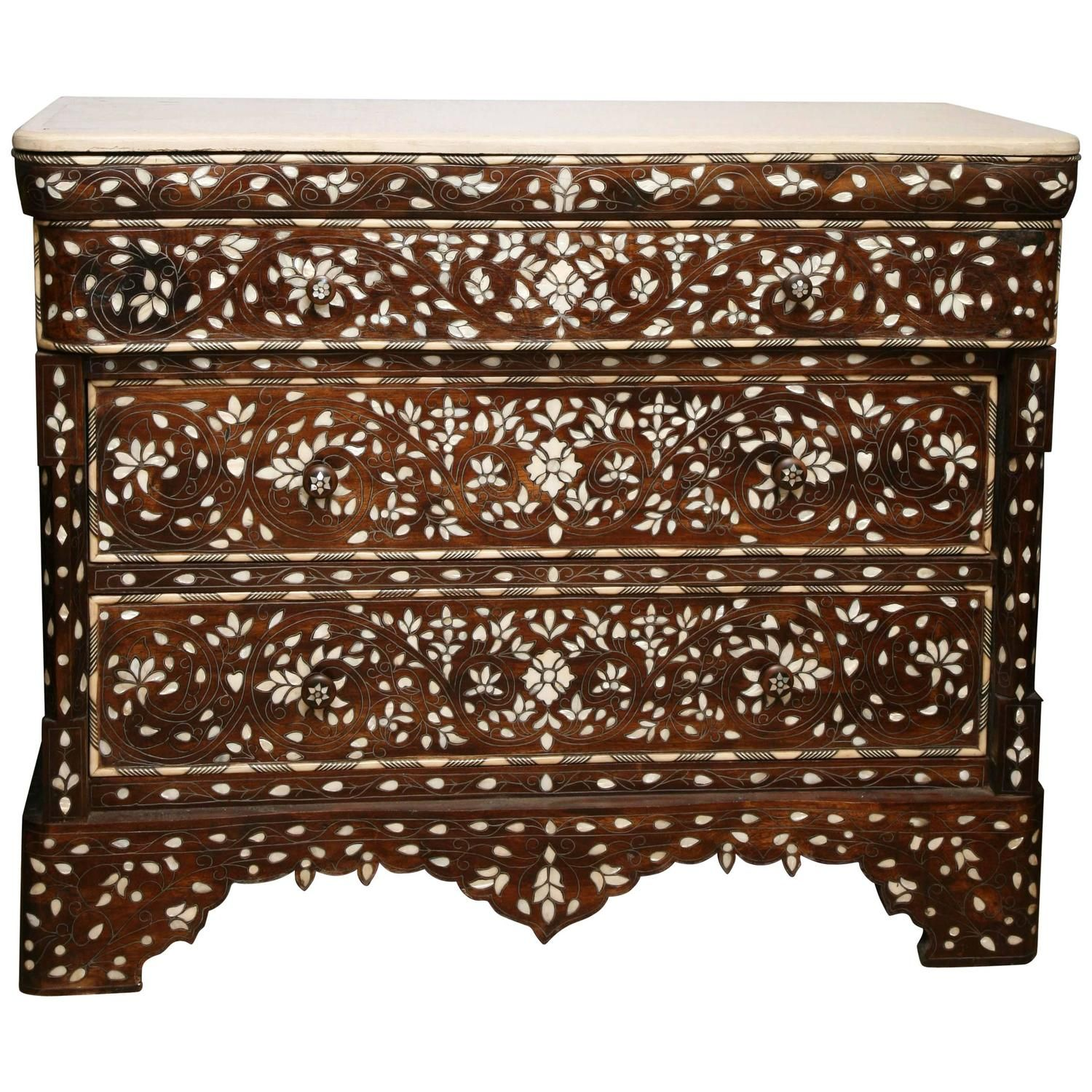 Superb 19th Century Syrian Inlaid Mother of Pearl Three Drawer