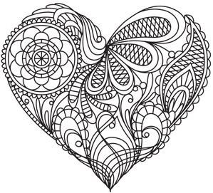 Pin By Kristi Hall On Zentangle Hearts Coloring Pages Adult