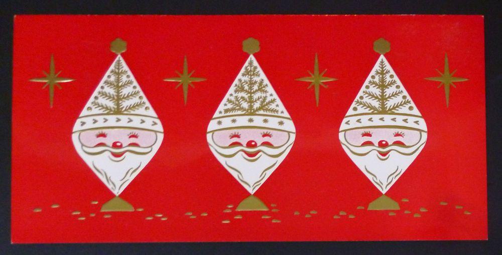 Trio Santa Claus Tree Hats Atomic Stars Vintage 1960s Sample