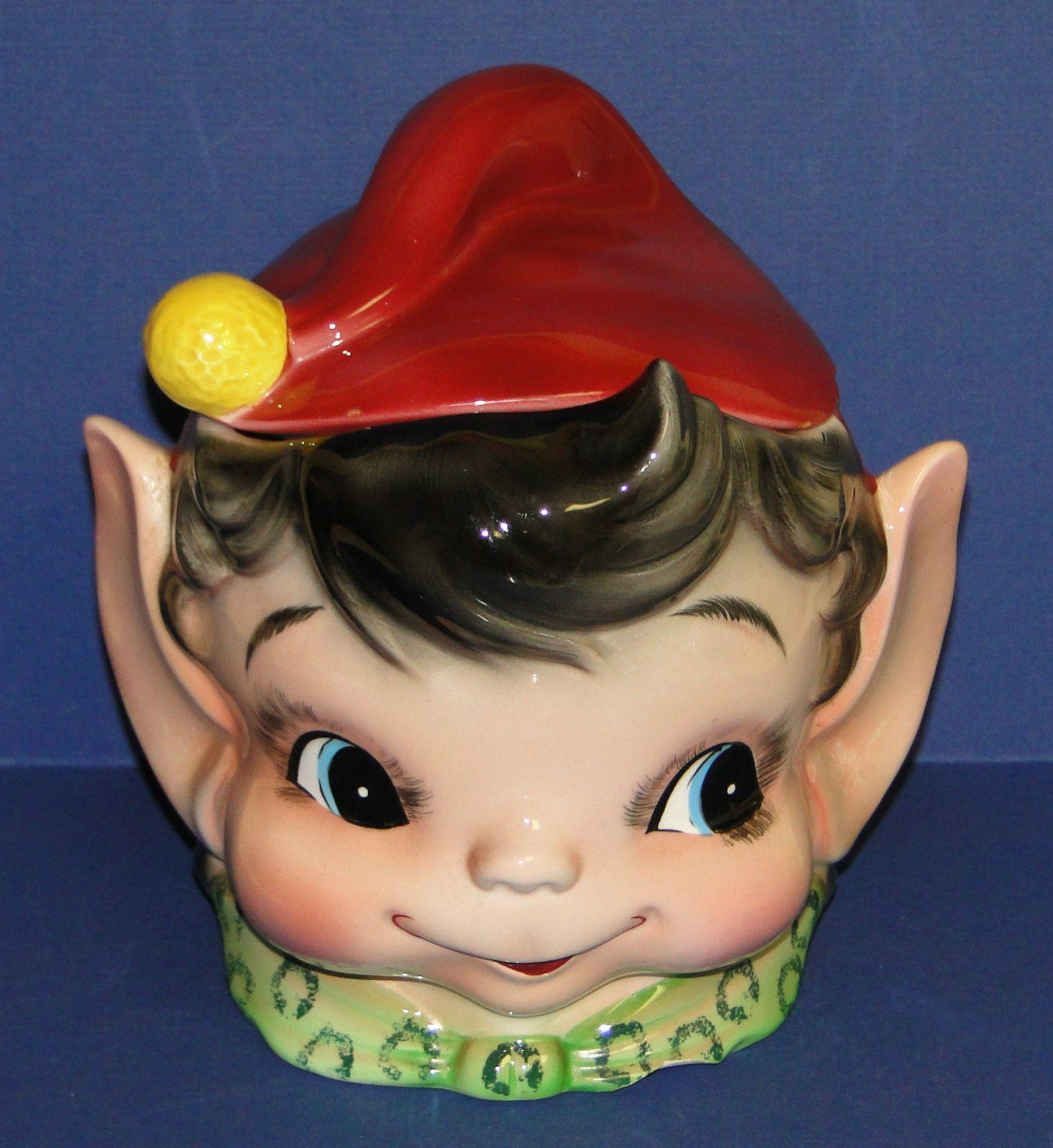 Vintage Elf Pixie Green Hat/Orange Collar Head Cookie Jar