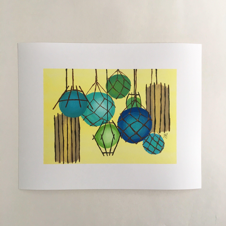 Gicleé Print of Original Painting Tropical Tiki Lanterns Nautical ...