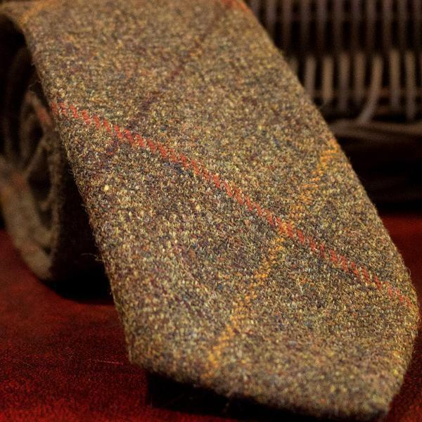 Dark Navy Blue /& Orange Frederick Thomas Designer Tweed Wool Mens Tie Check