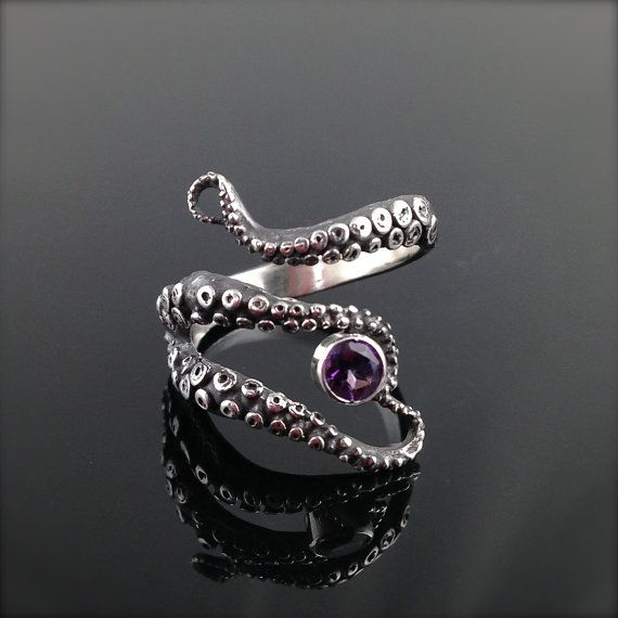 wicked tentacle ring with amethyst wedding band engagement ring - Amethyst Wedding Ring