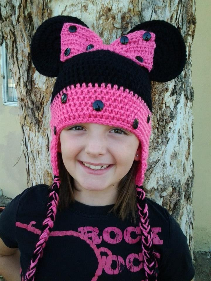 Minnie Mouse Crochet Hat with ear flaps by Shannanagans13 on Etsy ...