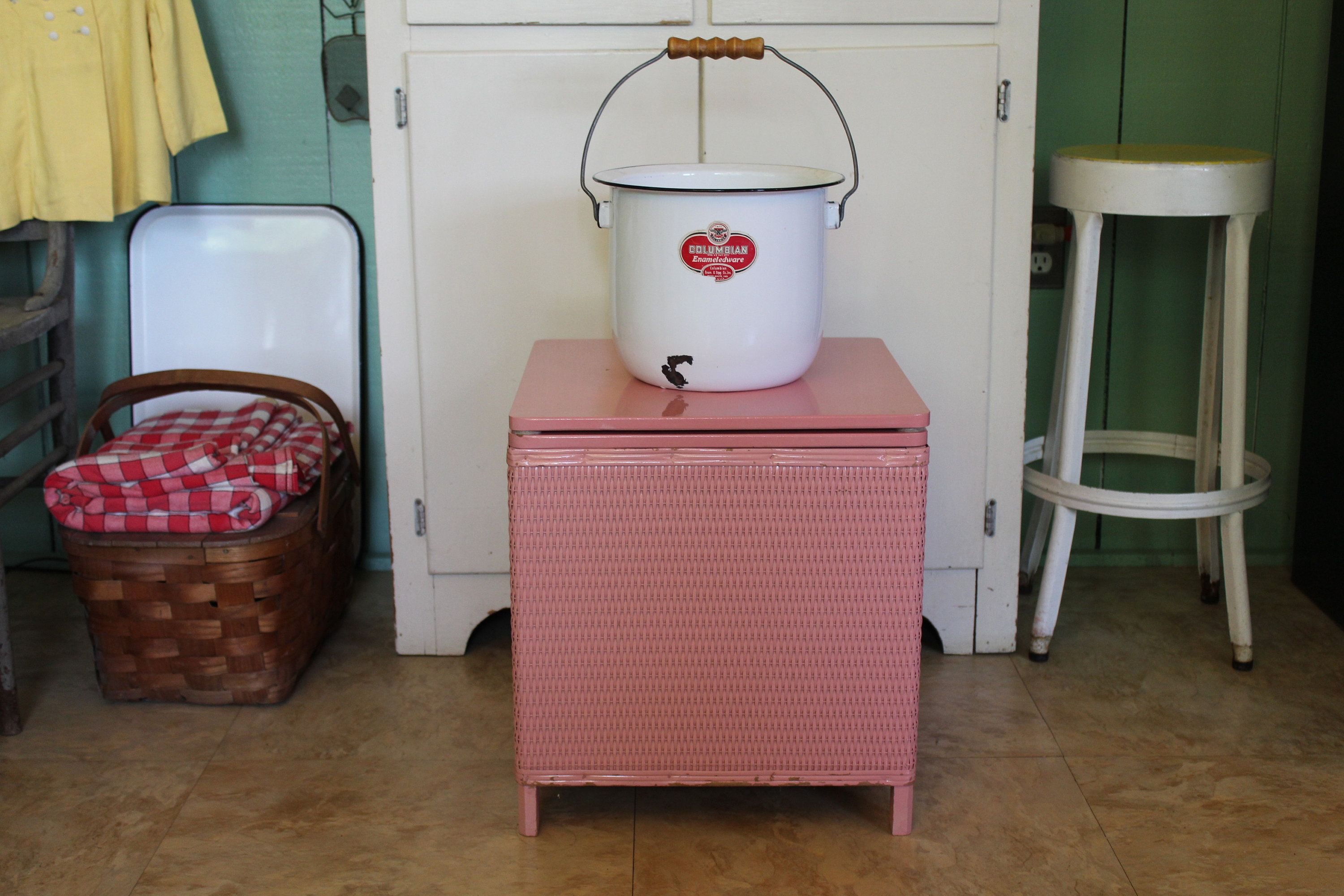 Vintage Pink Wicker Porta Potty with Enamelware Chamber