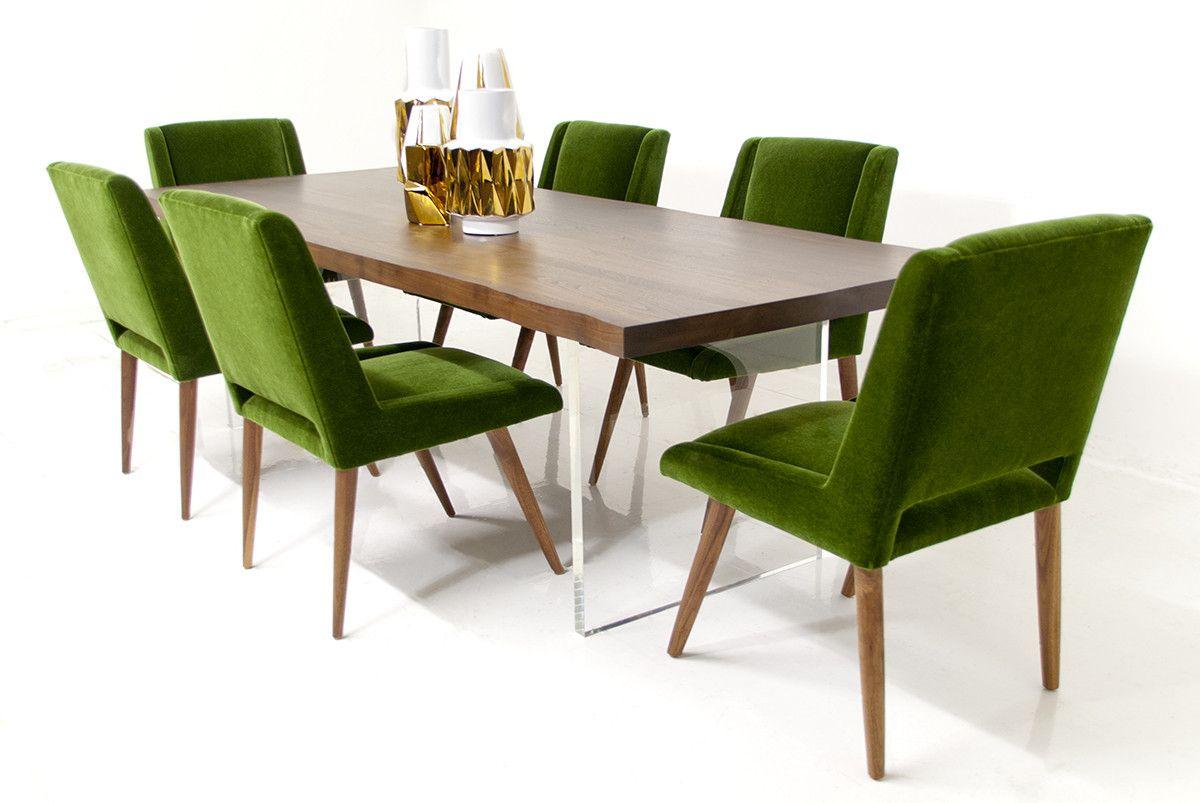 slab dining table in solid walnut d cor accents walnut dining table modern dining table dining. Black Bedroom Furniture Sets. Home Design Ideas
