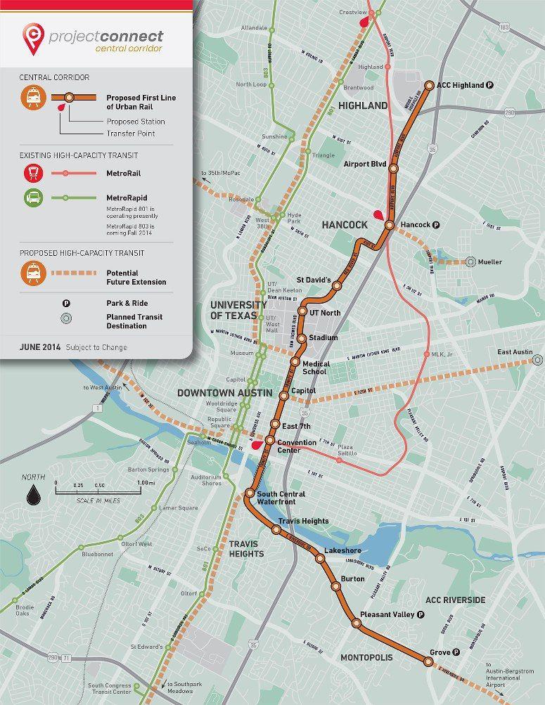 Austin Texas Subway Map.Austin Texas Light Rail Proposal Project Connect Subway Map