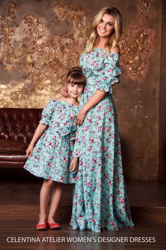 5f02952ab138aa Mãe-filha... roupa | Ideias de looks mãe e filha em 2019 | Vestido ...