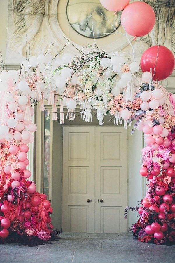 whimsical balloon and dreamer backdrop, photo by Jessica Withey Photography http://ruffledblog.com/magic-ballerina-wedding-inspiration
