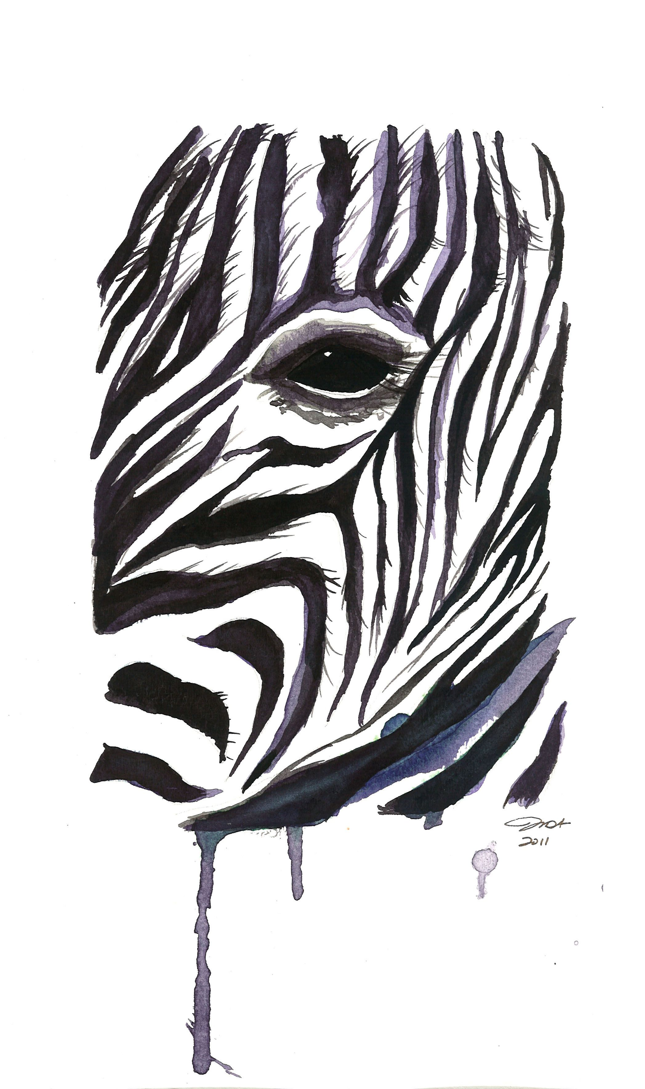 I painted this zebra last night in my teen art class I teach. Love zebras! #zebra #watercolor by Jessica Durrant