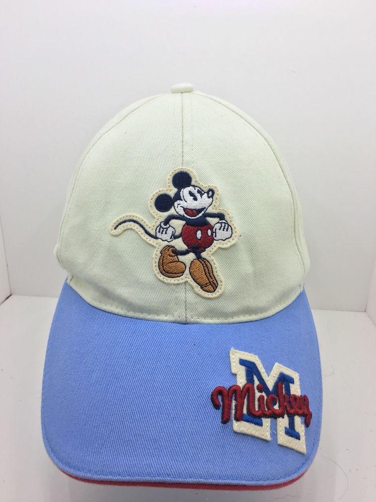 a382e9e9cd3c8 Mickey Mouse Baseball Cap Walt Disney Hat White Blue Vintage Style Strap  Back