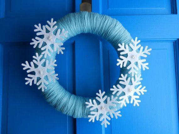 Photo of SALE! PRICE REDUCED 10%! ** Let it Snow Felt and Yarn Modern Wreath, Snowflake Wreath, Winter Wreath, Blue Wreath