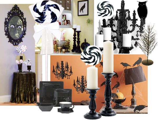 Love the spirals of the black and white with the orange background - halloween decoration ideas home