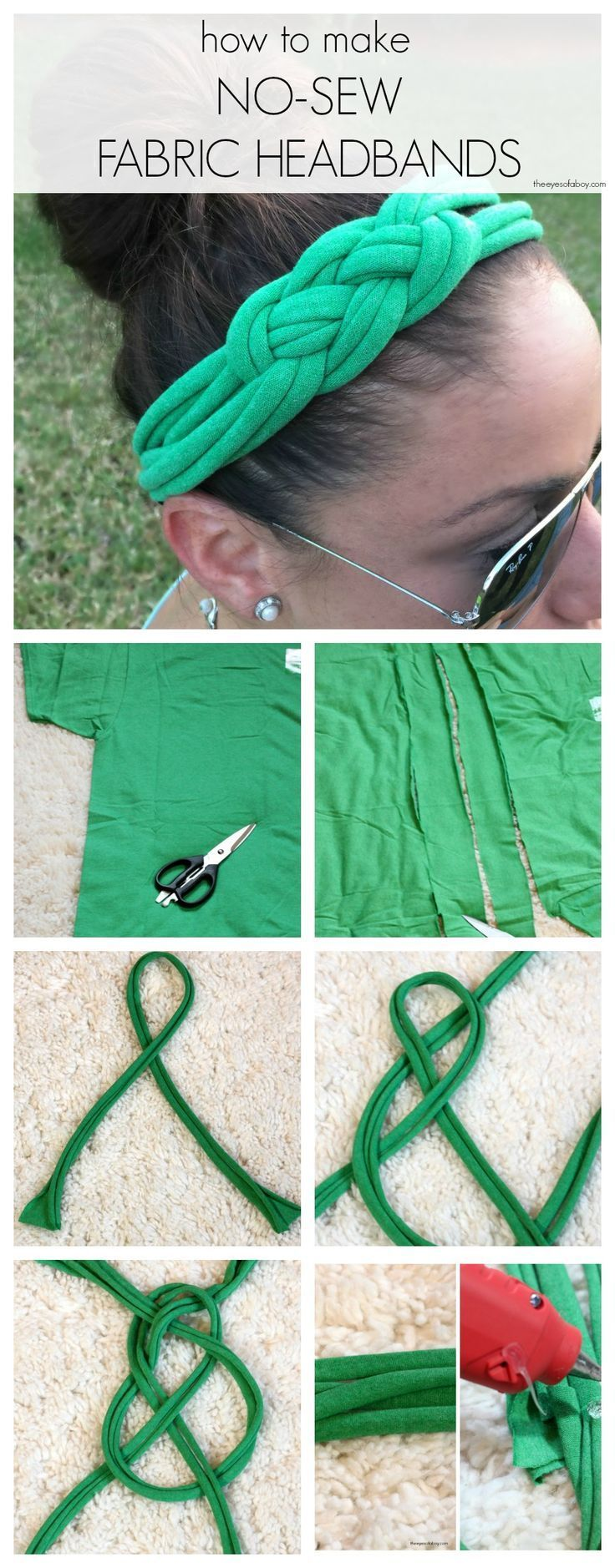 How to Make No Sew Fabric Headbands with Celtic Knot from T Shirts - lady #nosewshirts - watermelon club
