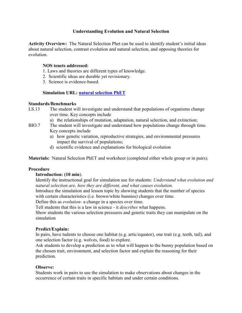 Evolution By Natural Selection Worksheet Answers A Worksheet Is