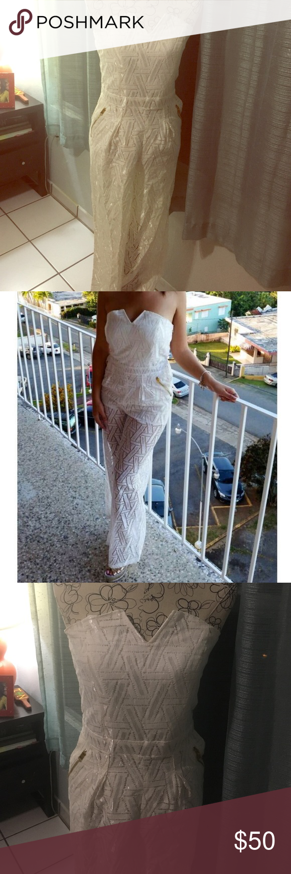 Lace Cocktail Romper This romper is stunning! It is white with platinum fabric and golden zippers. I only wore it once! It is a size L. Dresses Strapless