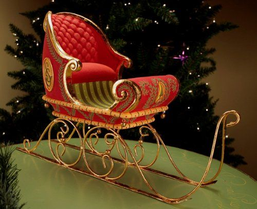 patience brewster krinkles large dashaway santa claus sleigh christmas decor - Decorative Christmas Sleigh Large