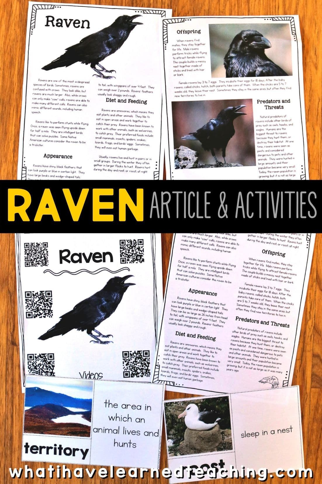 Halloween Animal Article Teaching Personal Narrative Informational Reading Activities The Raven Poem Annotated