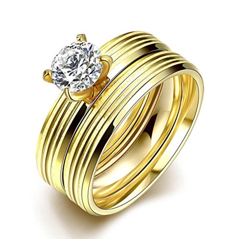 Retop Jewelry 18K Gold Plated Diamonds Womens Wedding