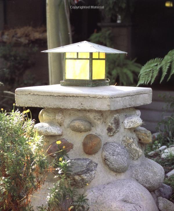 River Rock Pillar And Craftsman Light