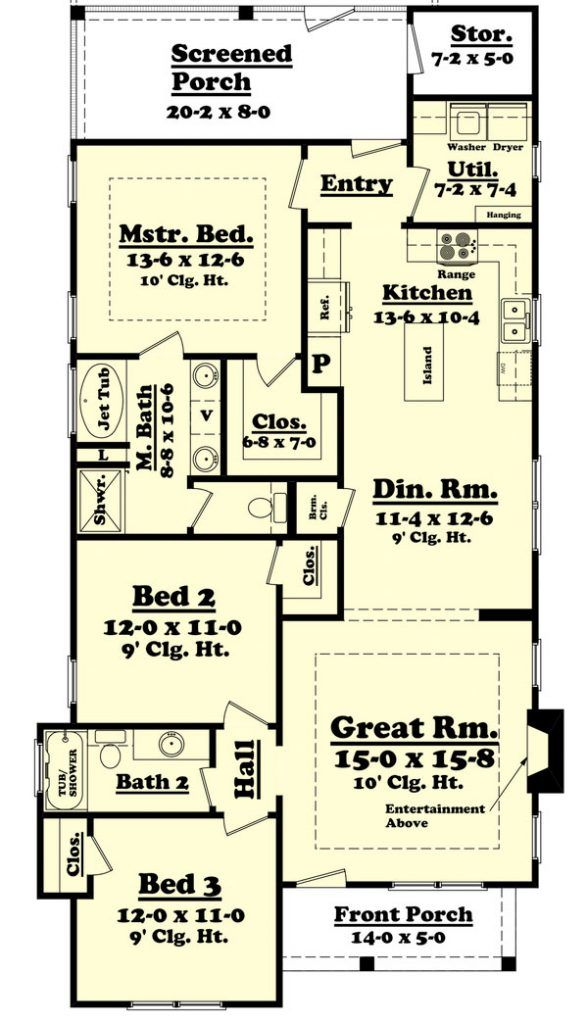 Attractive This Cottage Design Floor Plan Is 1396 Sq Ft And Has 3 Bedrooms And Has  Bathrooms.