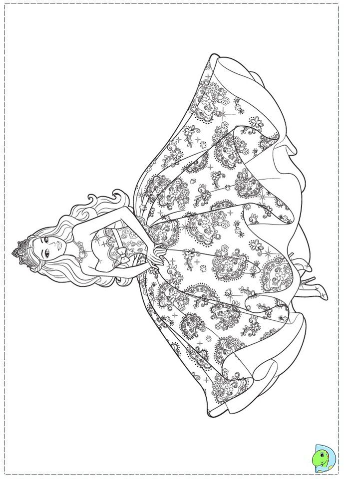 Barbie Princess Coloring Page For Girls Dresses