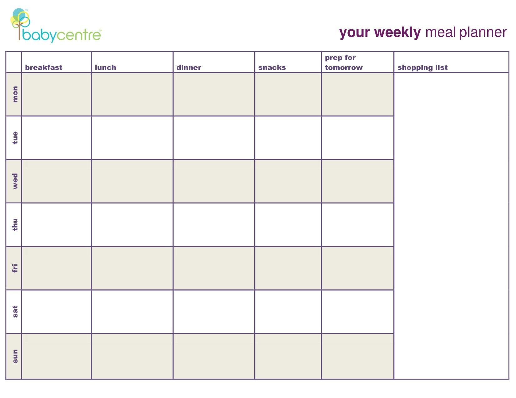7 Day Menu Planner Template Awesome Meal Planning Calendar