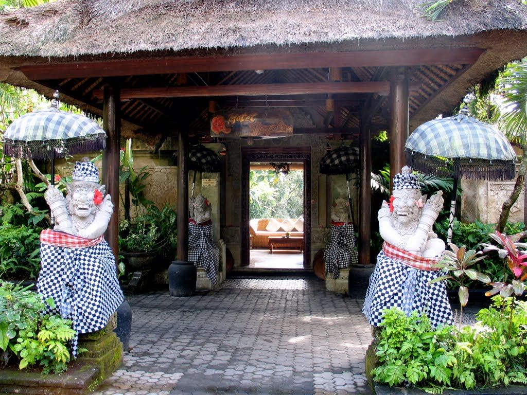 Entrance to Hotel Tjampuhan, Ubud - stayed here 2009 (there is a steep fall-away just past those couches into a river bed..amazing views)
