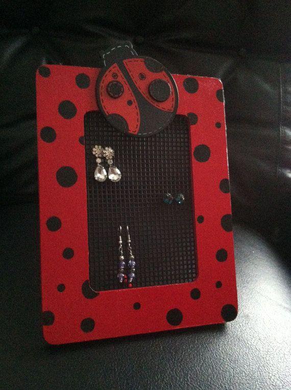 Toddler/Girl Earring Holder  Ladybug Theme by WhimsyWoodcrafts, $18.00
