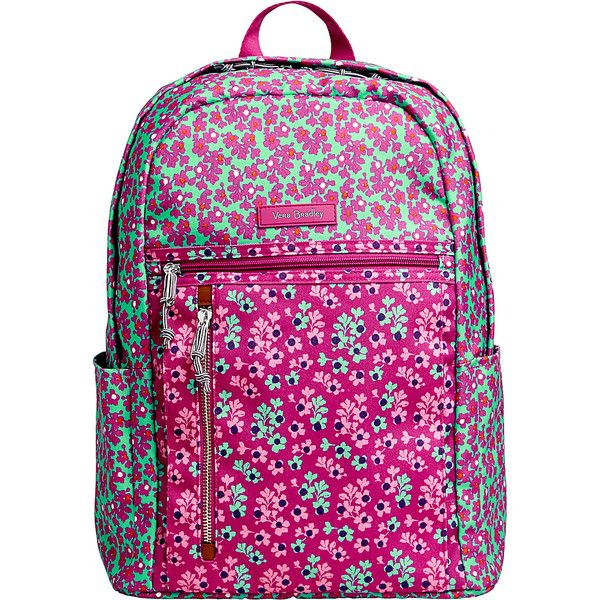 Vera Bradley Lighten Up Small Backpack - Ditsy Dot - School Backpacks ($78) ❤ liked on Polyvore featuring bags, backpacks, purple, light weight backpack, lightweight daypack, water repellent backpack, pink polka dot backpack and zipper bag