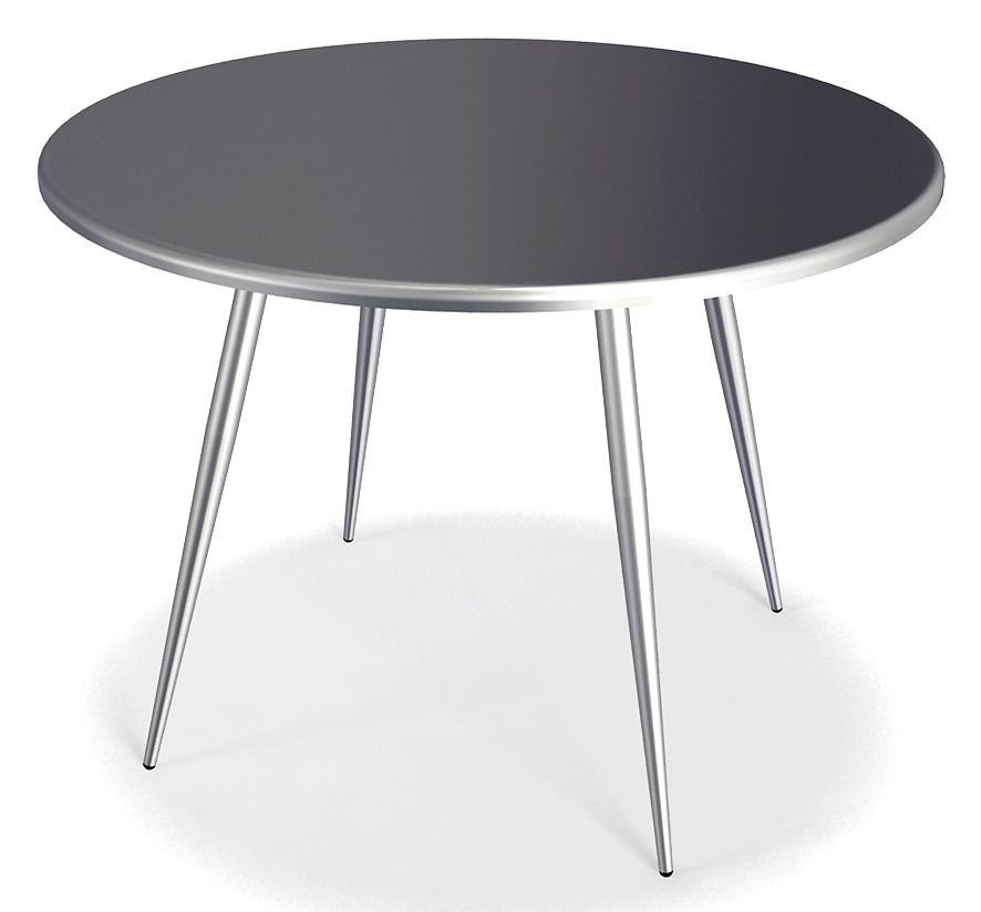 modern dining table in metal w round top & tapered legs - curve