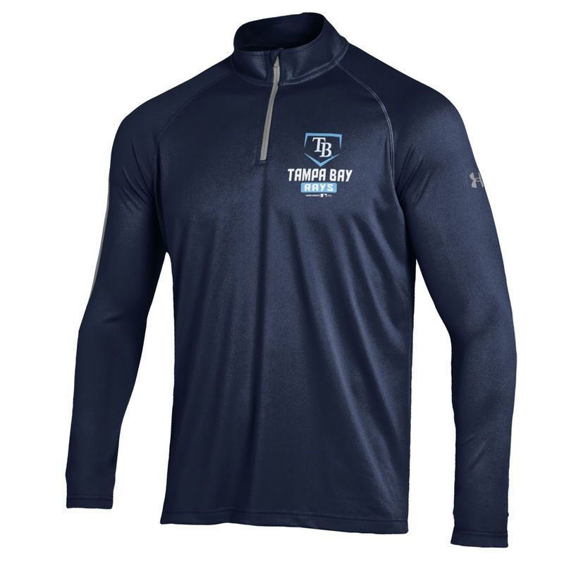 Tampa Bay Rays Under Armour Tech Quarter-Zip Performance Pullover Jacket - Navy