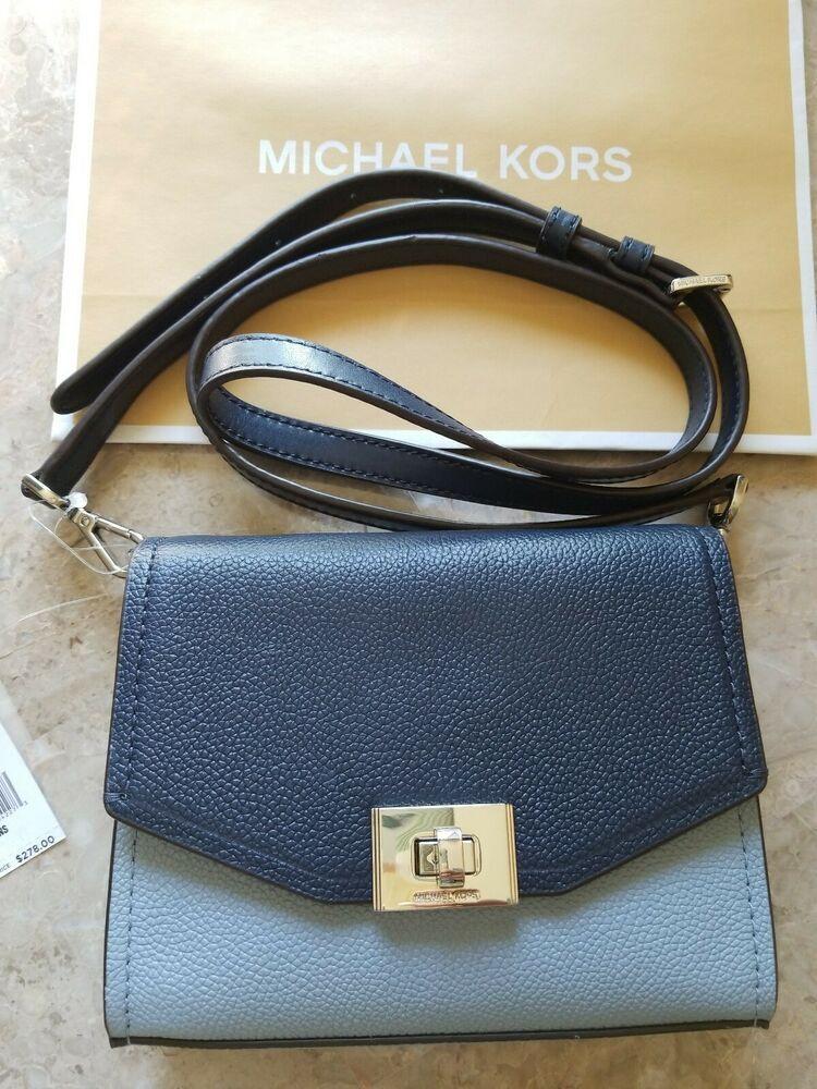 ffd12092879d Michael Kors Cassie XS Crossbody Bag Satchel Handbag Leather Pale Blue/Navy  NWT #MichaelKors #Crossbody