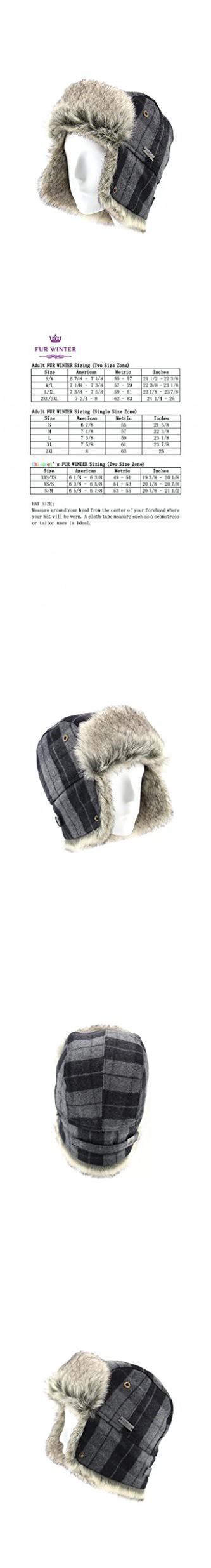 FUR WINTER Wool Blend Buffalo Check Faux Fur Aviator Bomber Trapper Hat BLK/GRY M/L