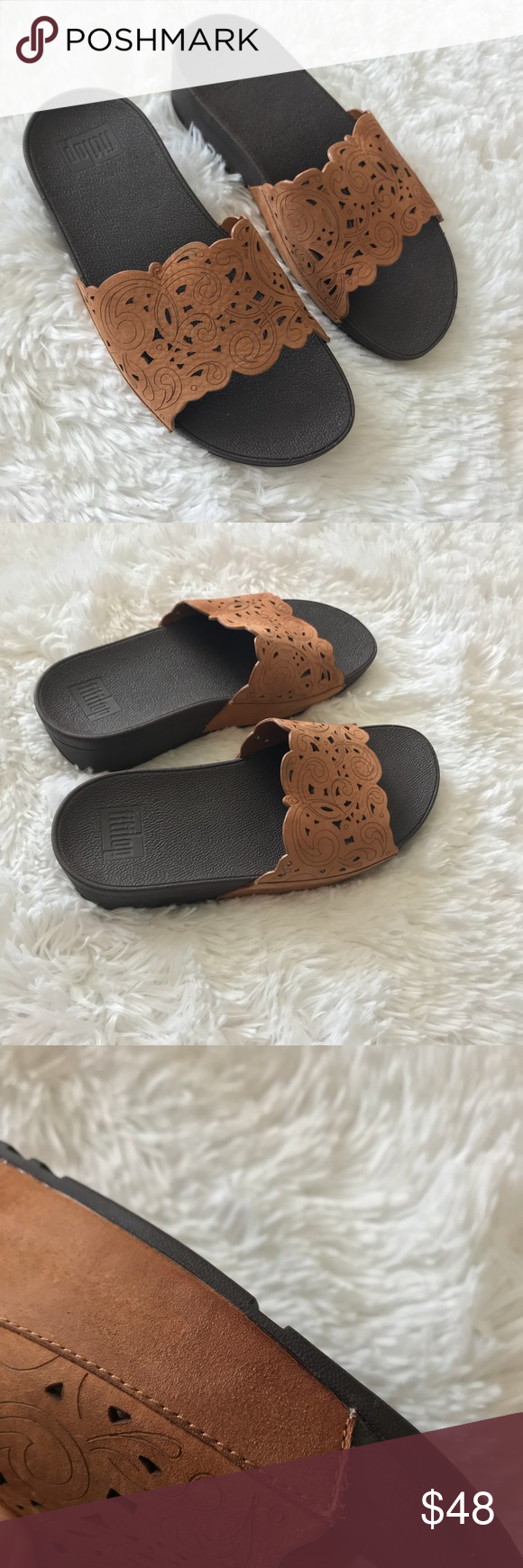 0fb5efeaf39a5 Fitflop Beige Flora Slide Sandals Size 6 - Never worn fitflop beige flora  slide on sandals - Has a little water damage on one sandal as shown in  picture but ...