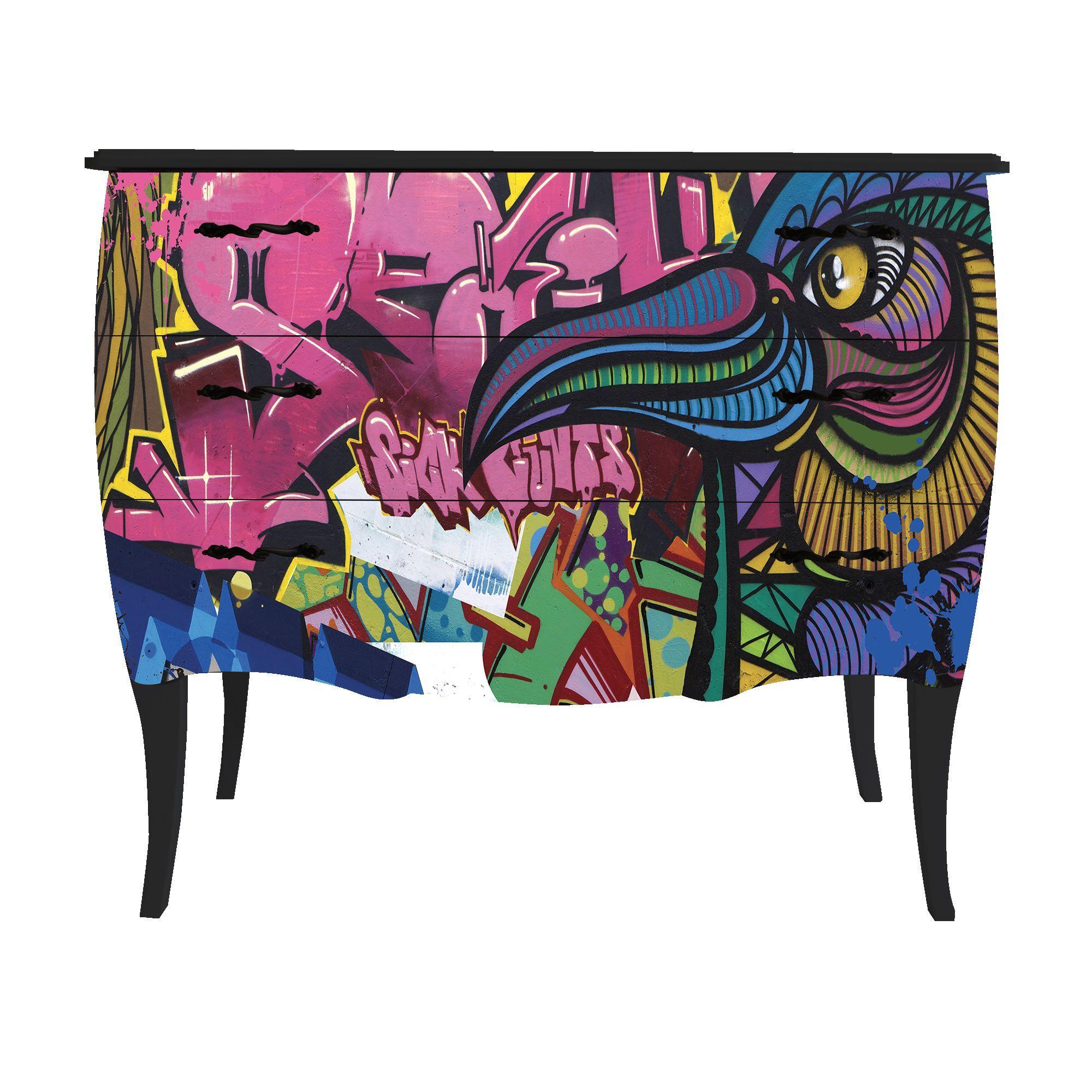 petite commode 3 tiroirs imprim urbain noir print baroque birdy les commodes les. Black Bedroom Furniture Sets. Home Design Ideas