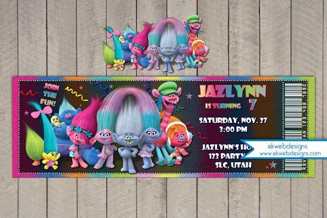 Trolls Movie Ticket Birthday Invitations