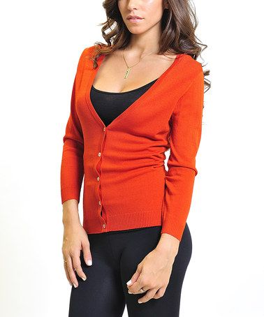 900fbfbe2 This Rusty Red V-Neck Cardigan by VICE VERSA is perfect ...