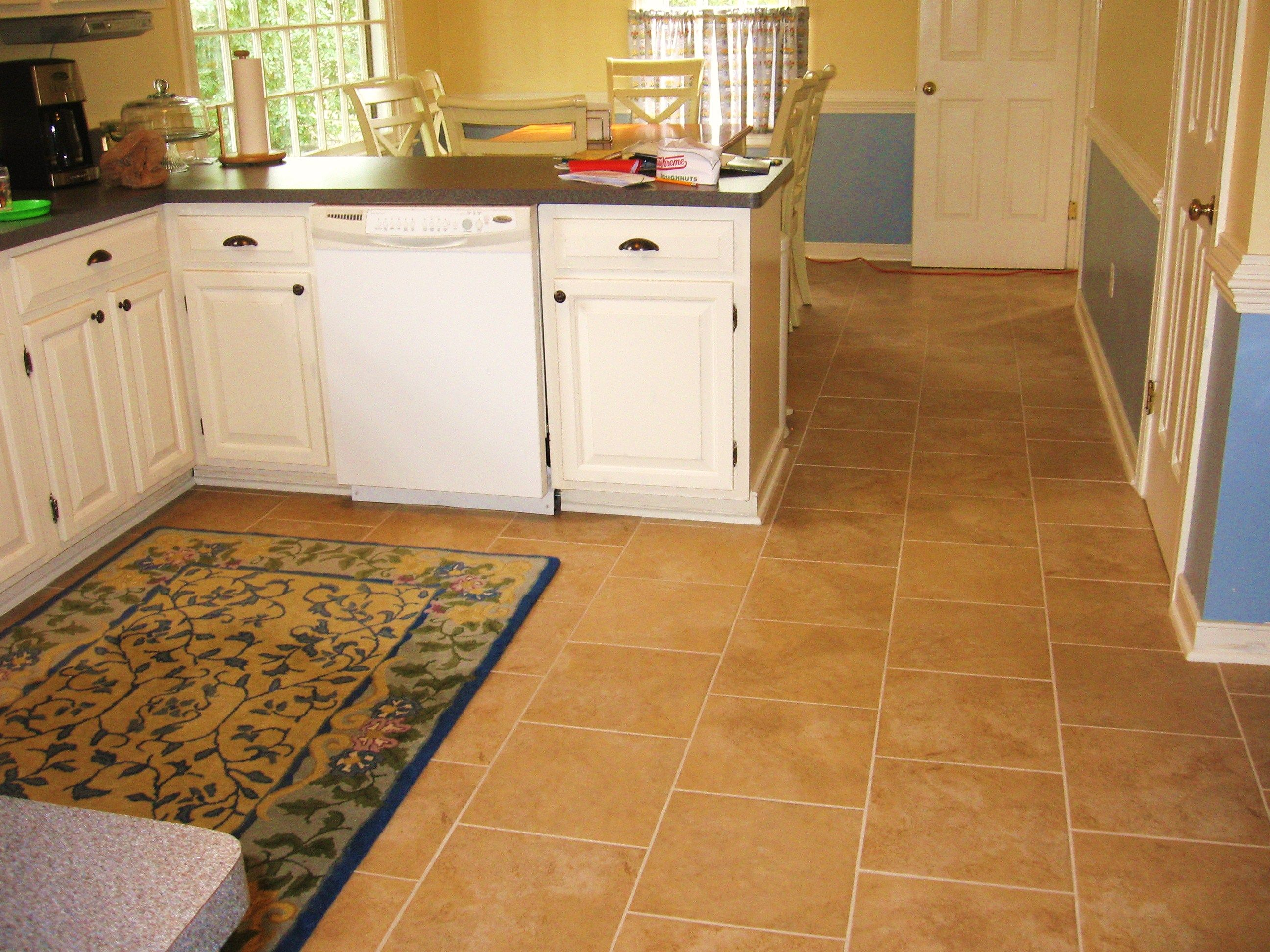 Interior amazing charming yellow fabric carpet tile ideas for White kitchen cabinets with tile floor