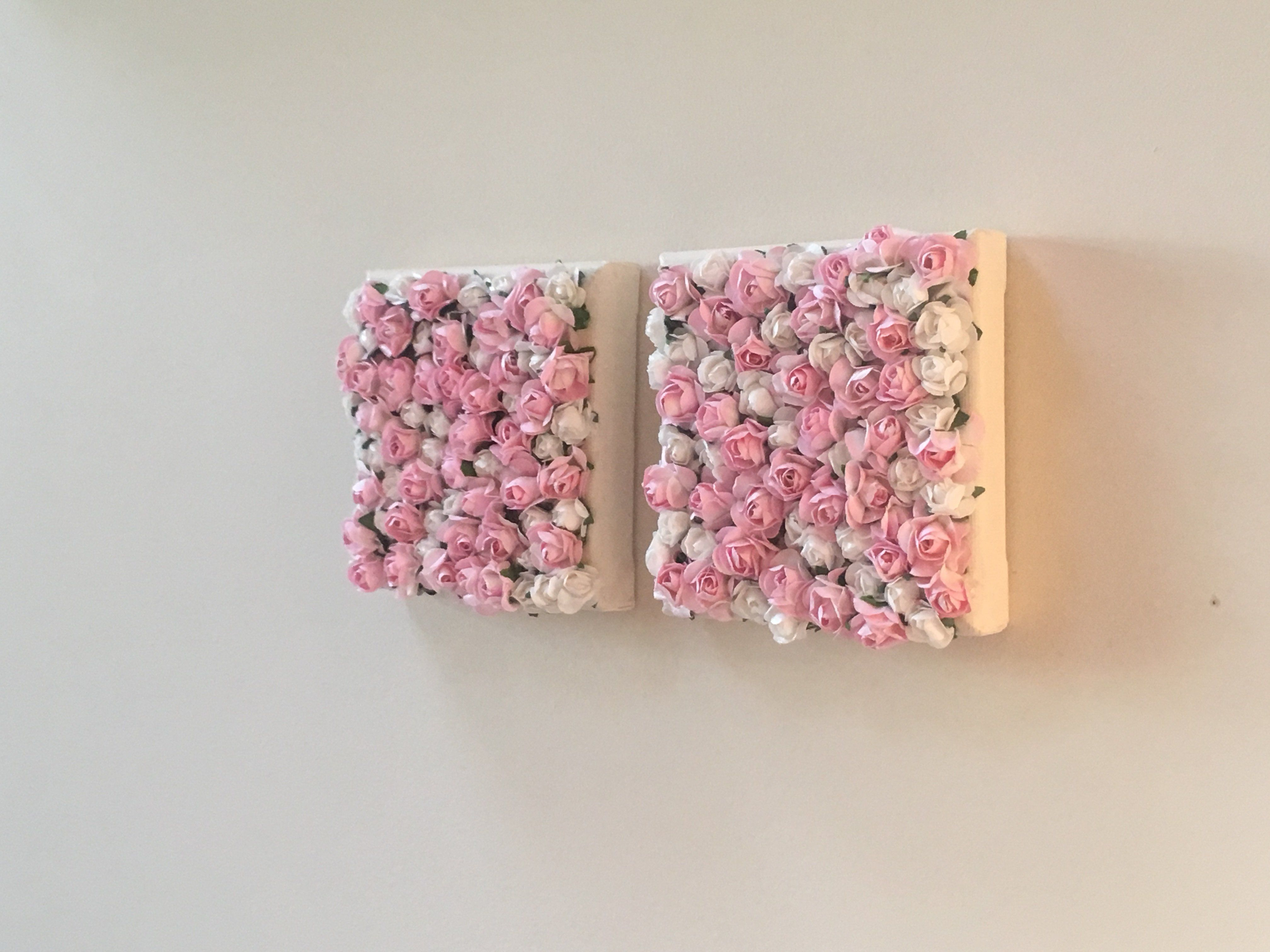 Nursery Wall Decor + Pink and White Rose Paper Flower Wall Decor (4 x 4)