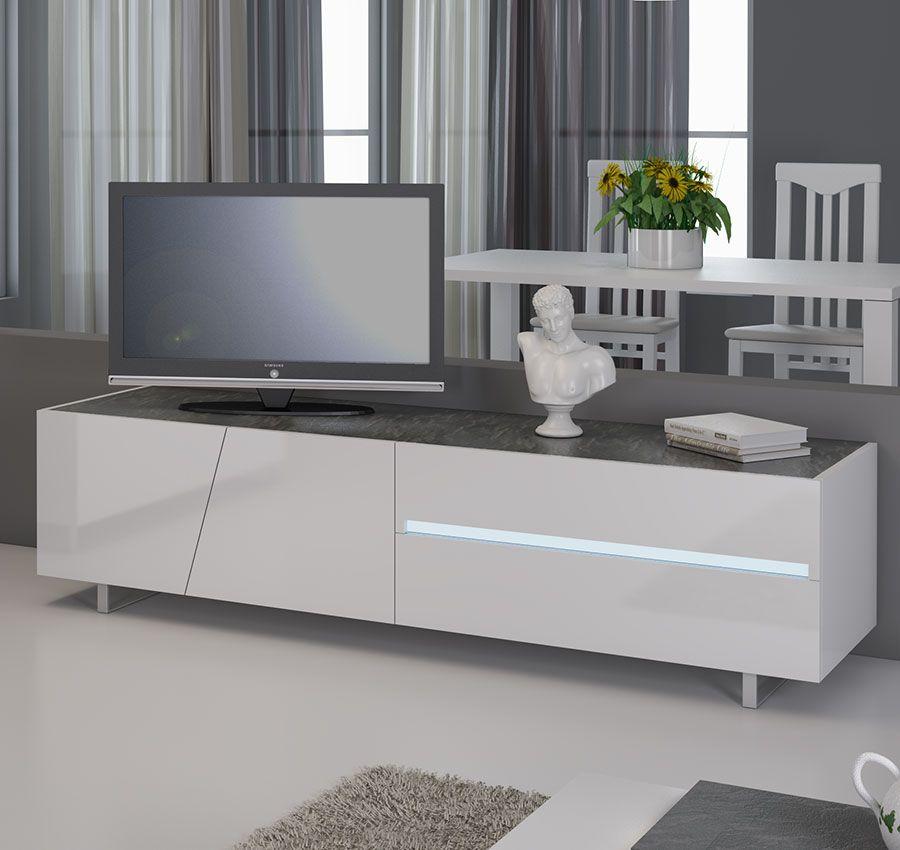 Meuble Tv Blanc Laque Avec Eclairage A Led Integre Design Joshua