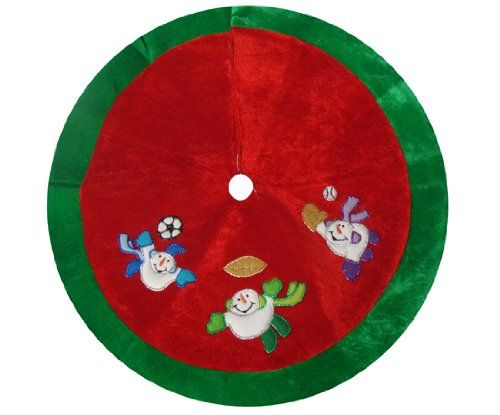 """$9.99-$12.99 20"""" Adorable Snowmen Playing Sports Mini Christmas Tree Skirt - Snowmen Playing Sports Mini Christmas Tree Skirt Item #6230521 Features three childlike snowmen playing football, soccer and baseball Red body with green trim Design is on front only Recommended for use with a tree up to 4 feet tall Dimensions: 20"""" diameter Material(s): velveteen Closes in the back with 2 Velcro patches ..."""