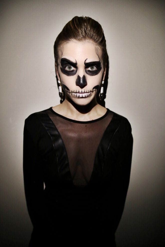 A Step-by-Step Guide to Totally Doable Glam Skeleton Halloween - easy makeup halloween ideas