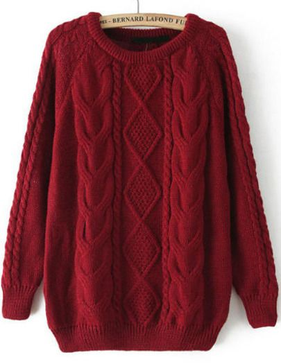 Red Long Sleeve Cable Knit Loose Sweater -SheIn(Sheinside) Mobile Site 37fda7e4c