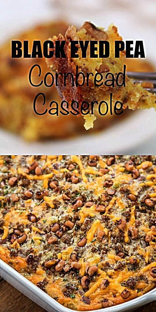 Eyed Pea Cornbread Casserole  Black Eyed Pea Cornbread Casserole recipe  homemade cornbread loaded with sausage creamed corn cheddar cheese black eyed peas green chiles a...