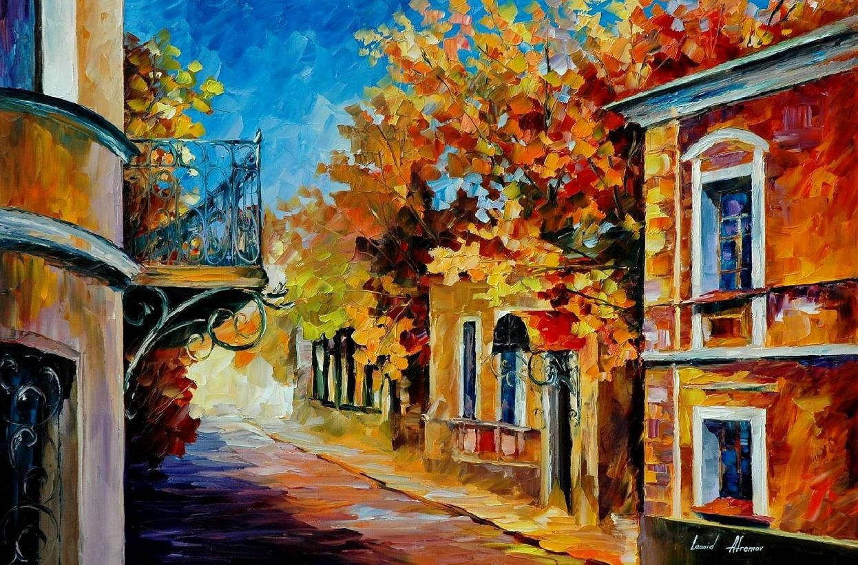 Old Balcony By Leonid Afremov With Images Oil Painting On Canvas Art Painting Oil Canvas Painting