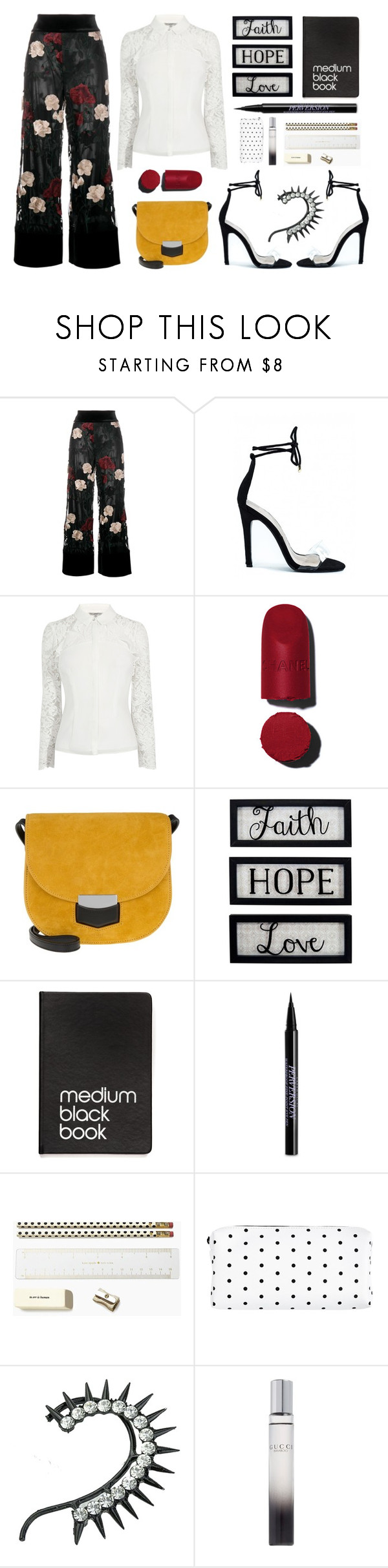 """Medium Black Book"" by romaosorno ❤ liked on Polyvore featuring Ganni, CÉLINE, New View, Dinks, Urban Decay, Kate Spade and Gucci"